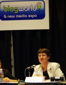 Becky McCray speaking at BlogWorld Expo in 2008.