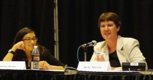 Shama Kabani and Becky McCray on a panel at BlogWorld Expo.