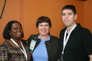 Tinu Abayomi-Paul, Becky McCray and Andrew Hayes at BlogWorld Expo. Photo by Shashi Bellamkonda