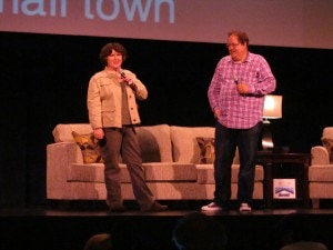 Becky McCray speaking on stage with Jeff Pulver