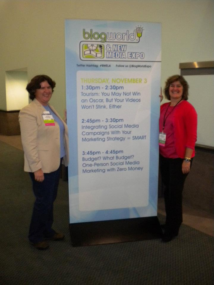Becky McCray and Sheila Scarborough with the BWE Tourism track they organized.