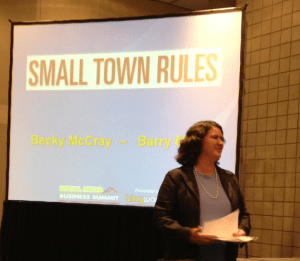 Becky McCray speaking at BWENY, photo by Keri Jaehnig