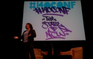 Becky McCray speaking at the 140conf in New York City, photo by Mike Dougherty