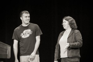 Colton Foote and Becky McCray speaking at 140conf. Photo by Travis Allison