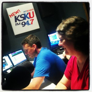 Becky McCray on the radio with Cody Heitschmidt, photo by Tamara Heitschmidt