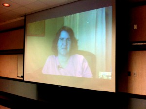Becky McCray speaking to Bartlesville Marketing and Communications via Webex. Photo by Scott Townsend.