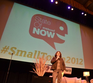 Becky McCray co-hosting the SmallTown2012 State of Now Conference. Photo by Alan Weinkrantz.