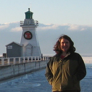 Becky McCray visiting the lighthouse in Port Dover, Ontario