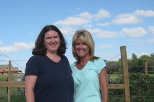 Becky McCray and Connie Foote at a you-pick berry farm near Alva, Oklahoma.