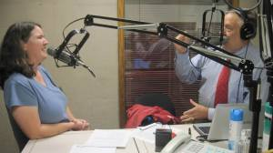 Becky McCray on the radio with Michael Libbe in Des Moines.
