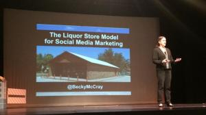 Becky McCray speaking on stage.