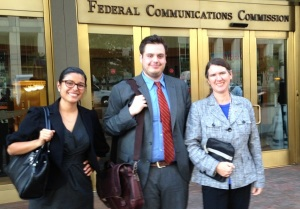 2014-10-16 Washington DC at FCC. Edyael Casaperalta, Lucas Nelson, and Becky McCray. Photo by Kate Forscey.
