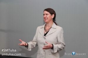 Becky McCray keynoting for the 5th year at SMTulsa. Photo by Tulsa Imagery, used by permission.