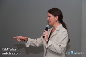 Rural speaker Becky McCray presenting the keynote address at SMTulsa Conference in 2015--her fifth keynote for SMTulsa.