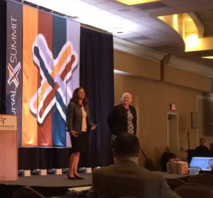 Keynote speakers Becky McCray and Deb Brown speaking at RuralX Summit. Photo by Cheyenne McGriff