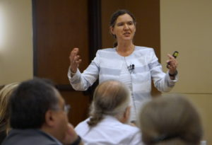 Becky McCray presenting the keynote speak at the Marion County Rural Development Conference
