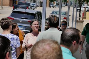 2018-07 Becky McCray leading a downtown tour in Ladd IL