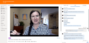Screenshot of Becky's video and chat in the Whova app