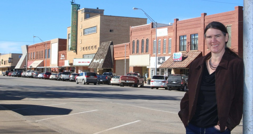 Becky McCray in downtown Alva.