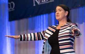 Becky McCray speaking at a national development conference