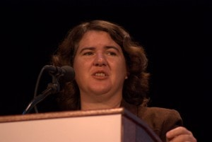Becky McCray speaking at the 140 conference in New York City