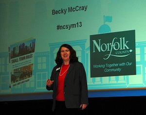 Becky McCray speaking at Norfolk County, Ontario, Canada