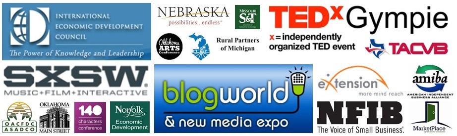 Logos of events where Becky McCray has spoken.